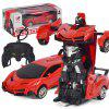 Children Electric Light Toy  Remote Control Deformation Robot Car Toy - RED