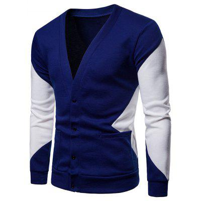 Color Patchwork Herren Strickjacke