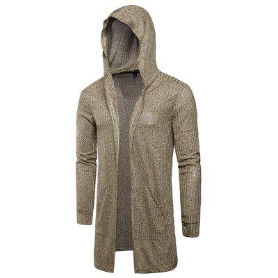 Cardigan Hooded Men's Long Sleeve Knit Coat