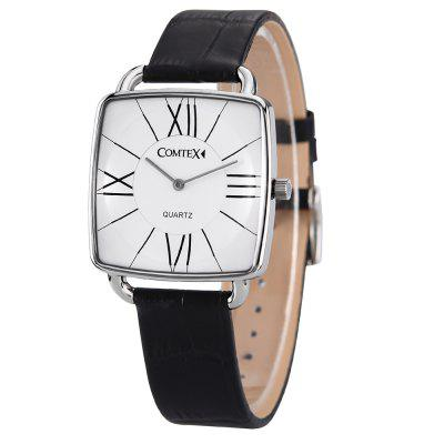 Comtex S6365G Men Fashion Black Leather Classic Waterproof Square Quartz Watch