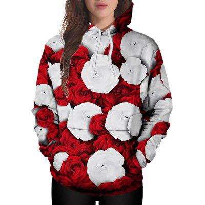 3D Winter Sports Red and White Rose Print Ladies Hoodie