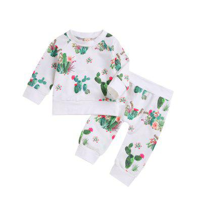 New White Cactus Long Sleeved Shirt and Trousers Two Piece