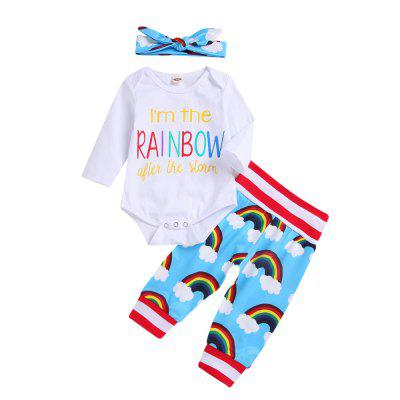 New White Long Sleeved + Rainbow Pants Head with Three Piece Sets