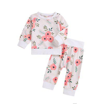 White Long Sleeved Jacket Plus Long Sleeved Flower Pants Two Piece