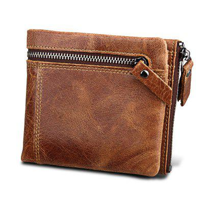 Genuine Leather Men Wallets Clutch Male Vintage Hasp Slim RFID Wallet Short Coin