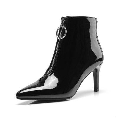 2018 New Lacquer Leather Front Zippers with Fine Heels and Bare Boots