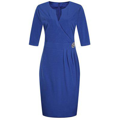 Solid Color V Collar Half Sleeve Pencil Dress