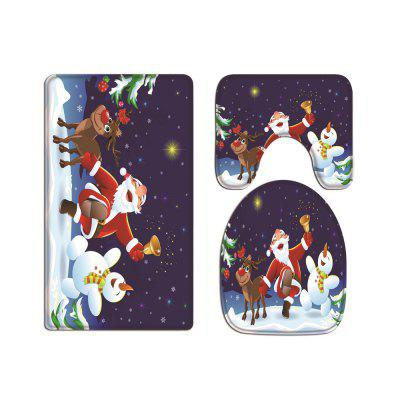 Bell Santa Claus Digital Printed Flannel Toilet Three-Piece