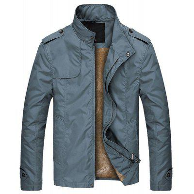 New Men Fashion Spring Autumn Winter Faux Fur Warm Lining Solid Casual Jacket