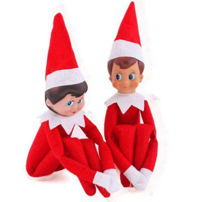 2Pcs Christmas Elf Toy Plush Dolls One Set (Red Boy and Girl) for Christmas Gift from Gearbest