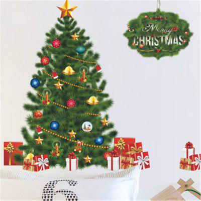 Merry Christmas Removable Wall Stickers Gree Christmas Tree Living Room Sticker