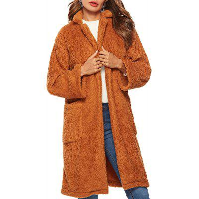 Solid Color Long Sleeved Pocket Loose Cardigan Jacket Casual Plus Size Coat
