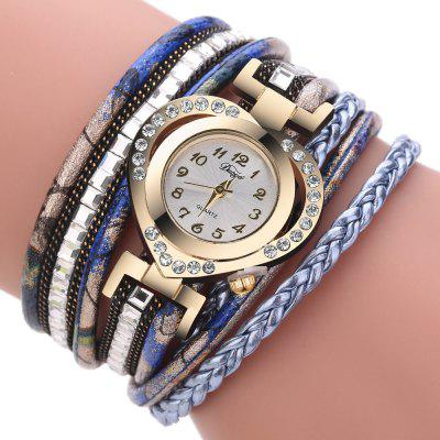 4701c97bd Fashion Style Watch with Four - leaf Clover Pendant and Knitting ...