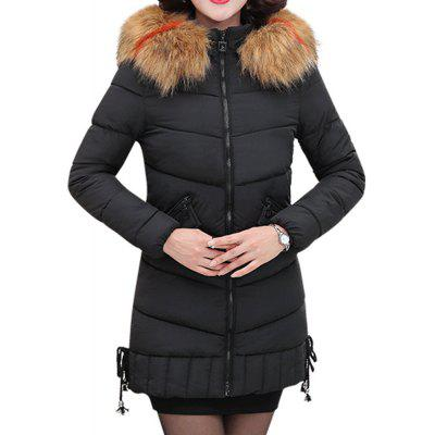 Plus Size Women Winter Jacket With Fur Collar Warm Hooded