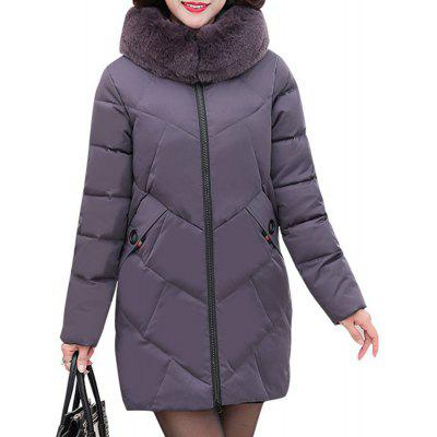 Plus Size Winter Women Hooded Coat Fur Collar Thicken Warm Long Jacket