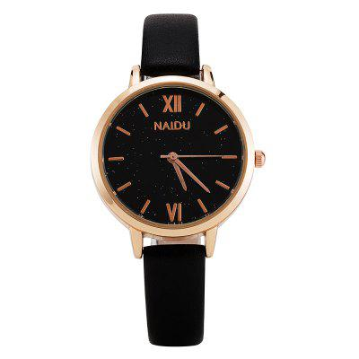 Naidu Women Brand Belt Watch Simple Black Surface With Quartz Watch