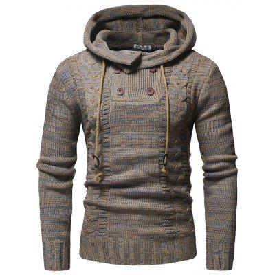 2018 New Men'S Fashion Colorblock Twist Double-Breasted Hooded Slim Sweater