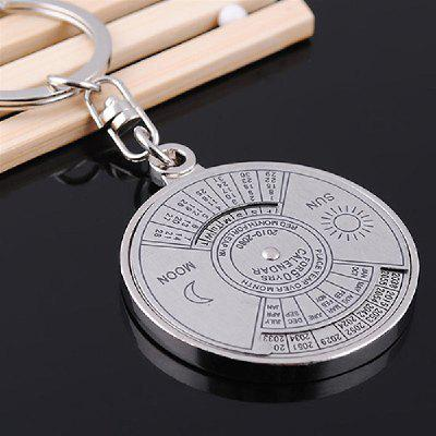 YEDUO 50 Years Perpetual Calendar Keyring Keychain Silver Alloy Key Chain Ring