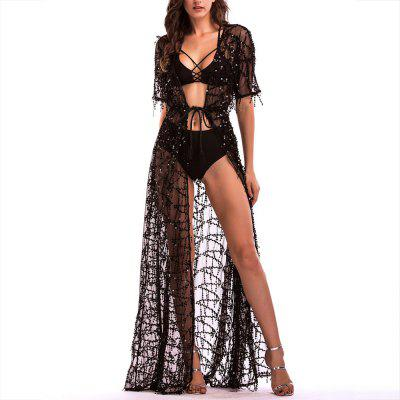 eeeba1799e7 Elegant Short Sleeve Perspective Sequined Lace Sexy Nightclub Maxi Dress