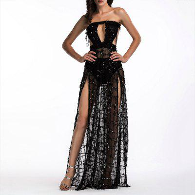 Elegant Tassel Sequined Tube Top Halter Mopping Long Nightclub Sexy Dress Gown