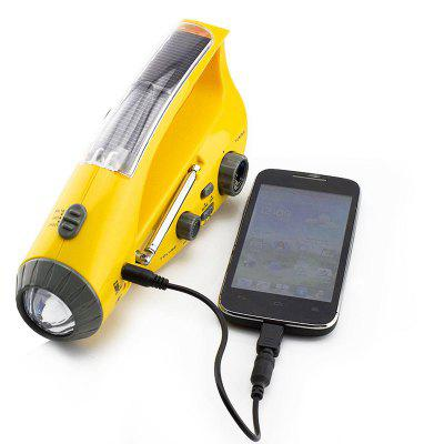 Solar Hand Crank Dynamo Emergency LED Flashlight Torch Alarm Phone Charger Radio