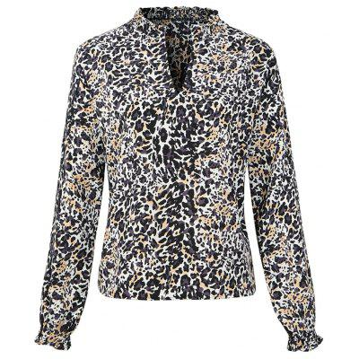 Spring 2019  Leopard Print Women Long Sleeve Blouses Loose Animal Chiffon Shirts