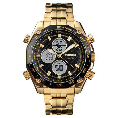 Skmei Men's Gold Digital 2 Time Eletronic Clock Silver Stainless Steel Wrist Wa