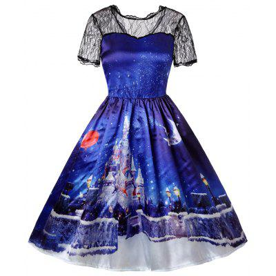 New Christmas Castle Snow Print Lace Patchwork Swing Santa Claus Tutu Dress