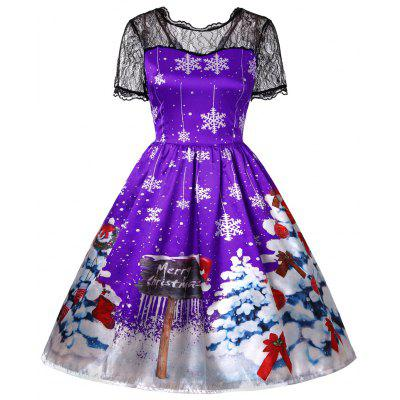 New Santa Claus Chirstmas Tree Print Lace Patchwork Swing Tutu Dress