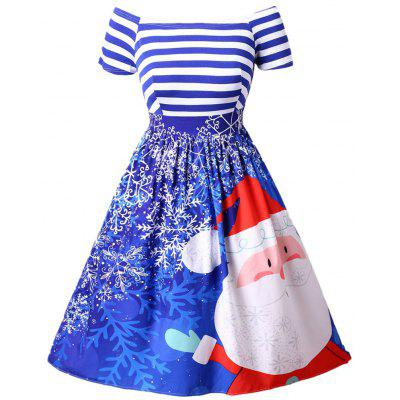 New Christmas Santa Claus Print Striped Color Block Off Shoulder Tutu Dress