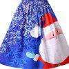 New Christmas Santa Claus Print Striped Color Block Off Shoulder Tutu Dress - BLUE
