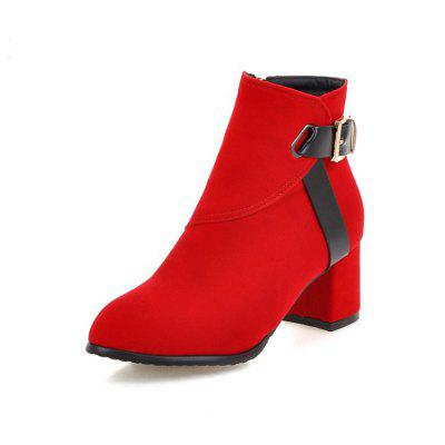 Autumn and Winter Simple Thick with College Wind Boots Fashion Pointed Women'S B