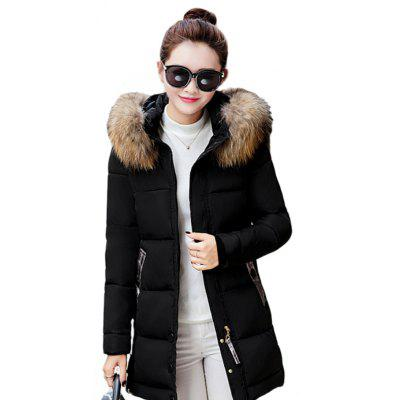 Cotton Coat Lightweight Thick Warm Fur Collar Hood for Ladies