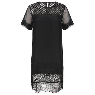 HAODUOYI Women's Lace Stitching Mesh Openwork Back Button Dress Black