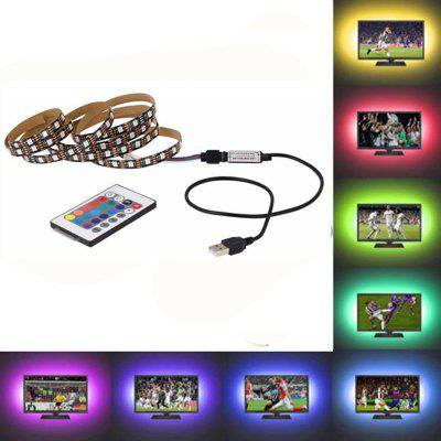 OMTO USB LED Strip 5050 RGB-TV-Hintergrundbeleuchtung Flexibles Lichtband 24Key RF Controller