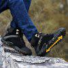 Men Outdoor Mountain Sneakers High Top Climb Genuine Leather Hiking Boots - PRETO