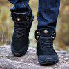 Men Outdoor Mountain Sneakers High Top Climb Genuine Leather Hiking Boots - BLACK