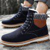 Men Outdoor Warm CottonSneakers High Top Winter Hiking Boots - DENIM DARK BLUE