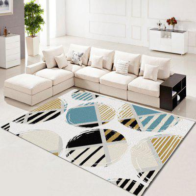 Living Room Floor Carpet Nordic Brief Style Circle Printed Soft Non-Slip Mat