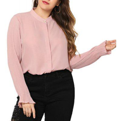 Solid Collar Slim Chiffon Stand Collar Long Sleeve Blouse
