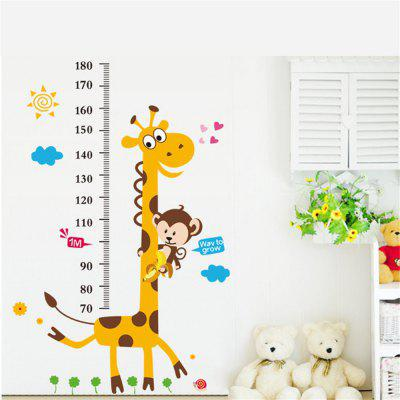 Cute Animals Monkey Giraffe Height Measure Wall Stickers Decal Kids Room