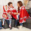 Family Christams Red Plush Hat Santa Claus Print Plus Size Cape Cloak - RED