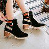 The Round Head Is Rough Hit By Color Buckle with Casual Short Boots - CZARNY