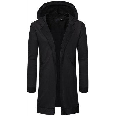 Men's fashion Simple medium and long section Casual cardigan hooded sweater