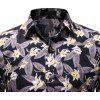 Men's Fashion Floral Print Casual Slim Long Sleeve Lapel Shirt - YELLOW