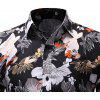 Moda Masculina 3D Color Digital Imprimir Casual Slim Long Sleeve Lapel Shirt - PRETO