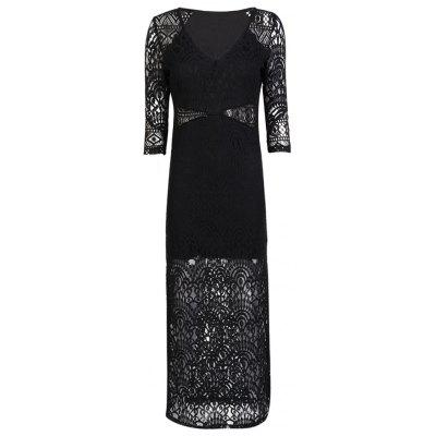 HAODUOYI Women's Slim V-Neck Openwork Lace Dress Black