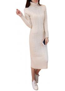 caa054fd166 Women s Sweater Solid Color Turtle Neck Long Sleeve Thick Knit Dress