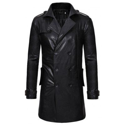 New Double-Breasted Large Lapel Men'S Long Leather Trench Coat