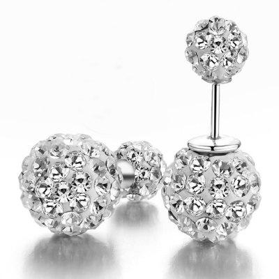 European Style Fashion Simple Shiny Rhinestone Double Beads Earrings